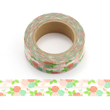 15mm X 10m Beautiful pink rose and Green Leaves Decorative Washi Tape Paper DIY Scrapbooking Masking Tape School Office Supply