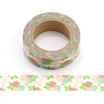 цена на 15mm X 10m Beautiful pink rose and Green Leaves Decorative Washi Tape Paper DIY Scrapbooking Masking Tape School Office Supply