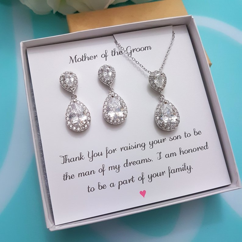 Mother of Groom Jewelry Bridesmaid Jewelry Set Bridesmaid Gift Mother of Bride Gift Crystal Teardrop Earrings Matching Bracelet Necklace