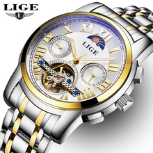 LIGE Mens Moon Phase Tourbillon Mechanical Watches Men Full Steel Watch Man Business Automatic Watches relogio
