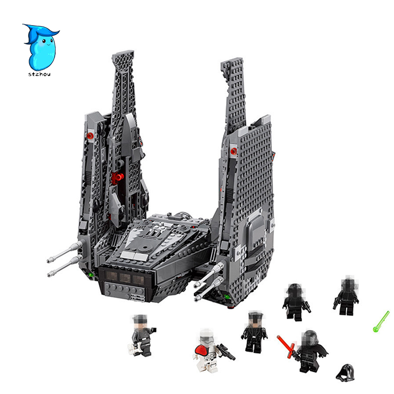 все цены на StZhou LEPIN 05006 Star 1053Pcs Toys Wars The Force Awakens Kylo Ren Command Shuttle Model Building Kits Blocks Bricks Boy Gift онлайн