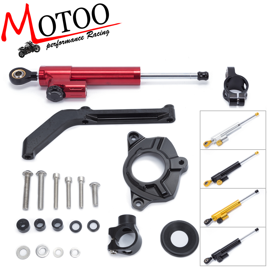 Motoo - Motorcycle Full set CNC Steering Damper Stabilizerlinear Linear Stabilizer Bracket kit For Kawasaki Z1000 2014-2016