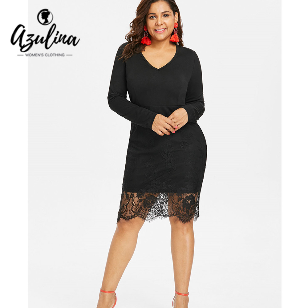 Detail Feedback Questions about AZULINA Plus Size Tight Dress Women 2018  Sexy Ladies Bodycon Dress V Neck Long Sleeve Lace OL Pencil Dresses Vestidos  De ... 10dfdc5f1d3e