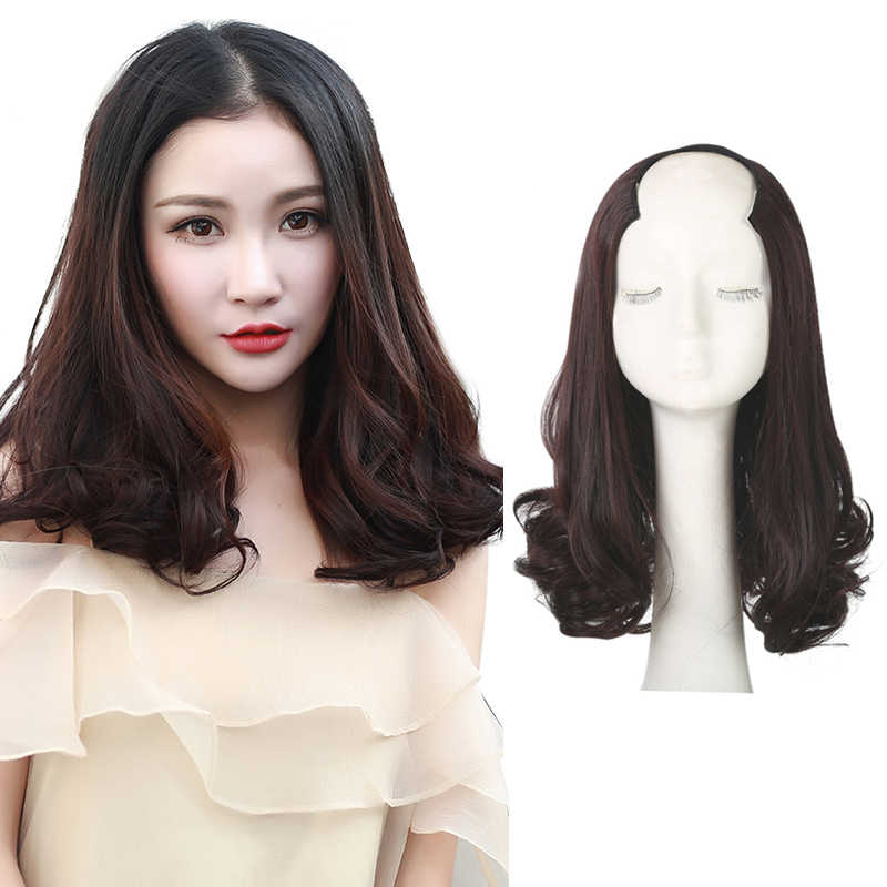 a11d49574 Short Curly Brown Clips in Wigs for Women U Part Half Wig Hair Synthetic  Invisible Hair