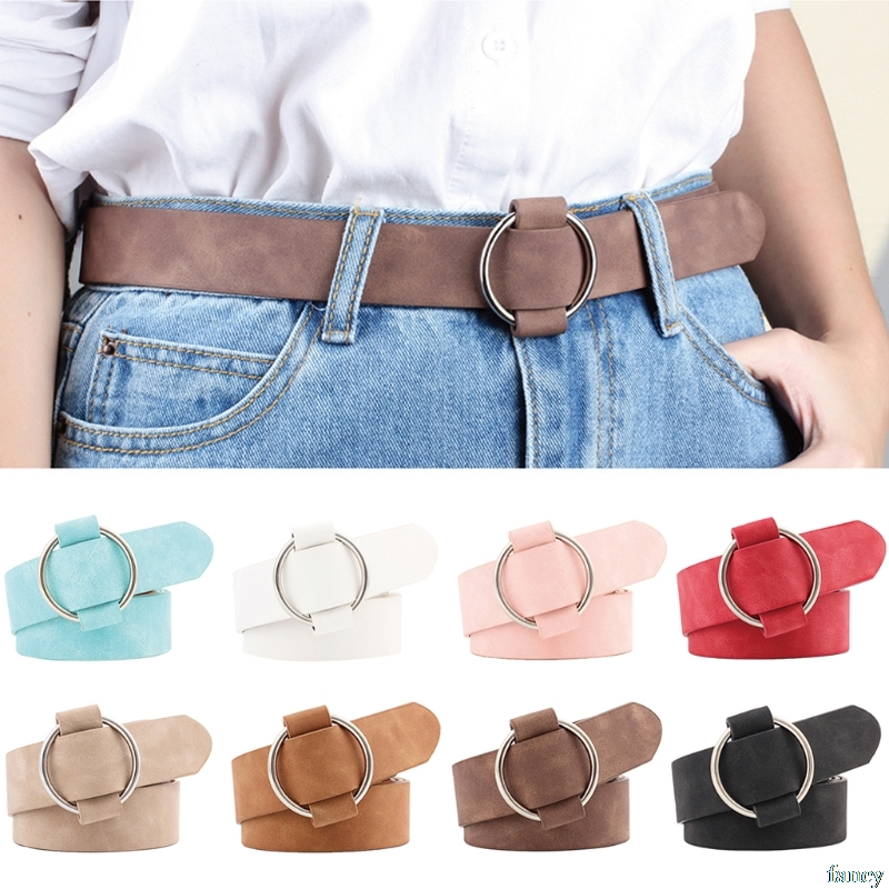 Retro Women Lady   Belt   Metal Boho Faux Leather Round Buckle Waist   Belt   Waistband