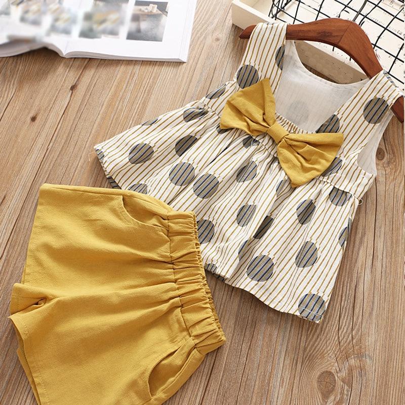 New 2019 Girls Clothes Set Summer Baby Clothes Chiffon Short-sleeved T-shirt+Lattice Button Shorts 2Pcs Suit Kids Clothes