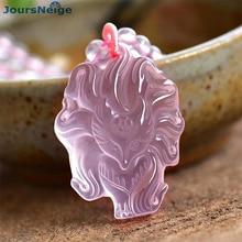 卸売ファインピンク天然水晶ペンダント手彫りナインテールキツネのセーターチェーンネックレスラッキー女性のための結婚の宝石