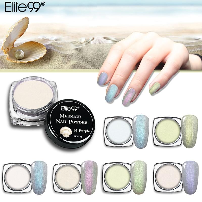 Elite99 1g/box Mermaid Nail Powder Effect On Mixed With Gel Polish Glitter Powder Dust Magic Glimmer DIY Nail Decoration Pigment