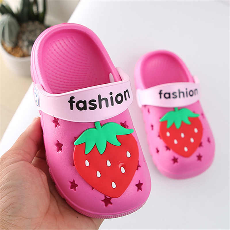 Kids Meisjes Slippers Kinderen Slippers Barefoot Kind Cartoon Fruit Aardbei Strand Schoenen Zwemmen Slipper Zomer Voor Baby