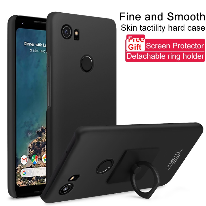 Cover For Google Pixel 2 XL Kickstand Ring Holder Matte PC Phone Cases With Screen Protector For Google Pixel 2 XL - Metal