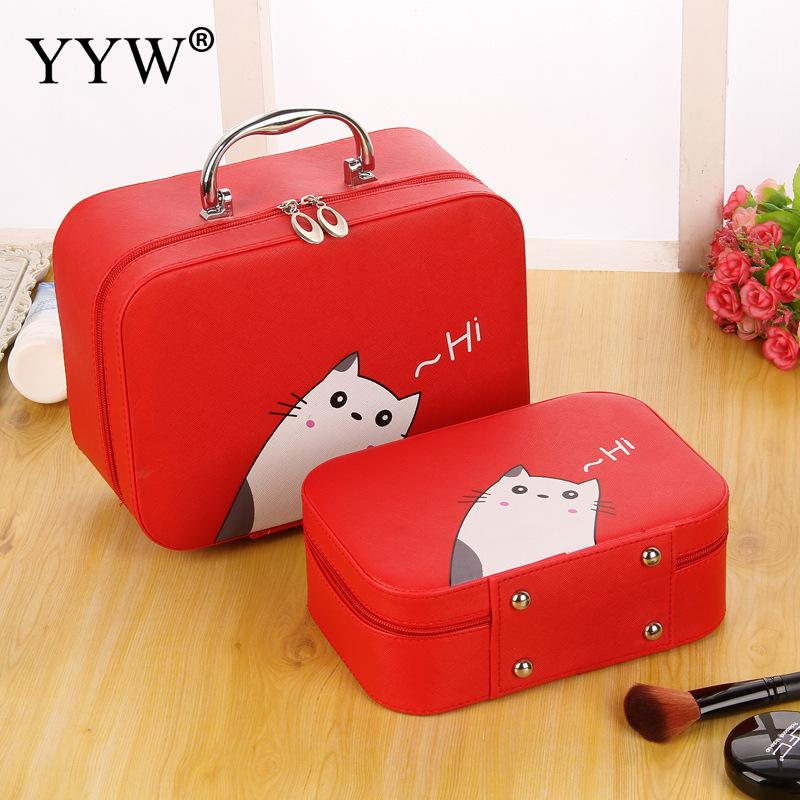 Cute Cat Women Makeup Bag Cosmetic Bag Case Travel With Brush Holder Makeup Organizer Container Box Large Capacity Cartoon