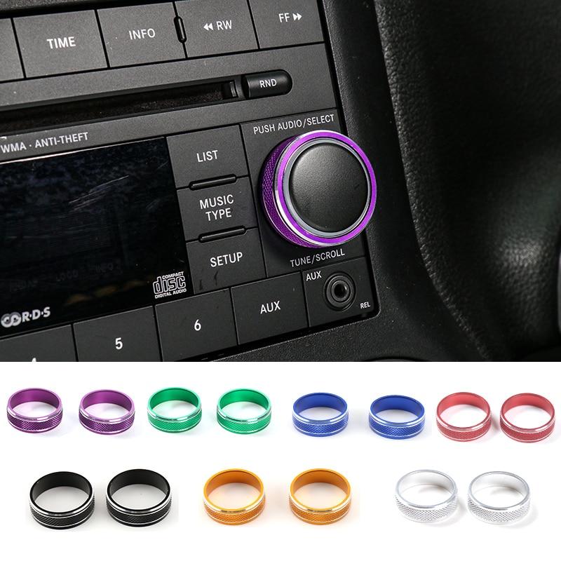 Shineka liga de alumínio cd capa decorativa media switch guarnição cd player botão anel para jeep wrangler jk 2007-2017