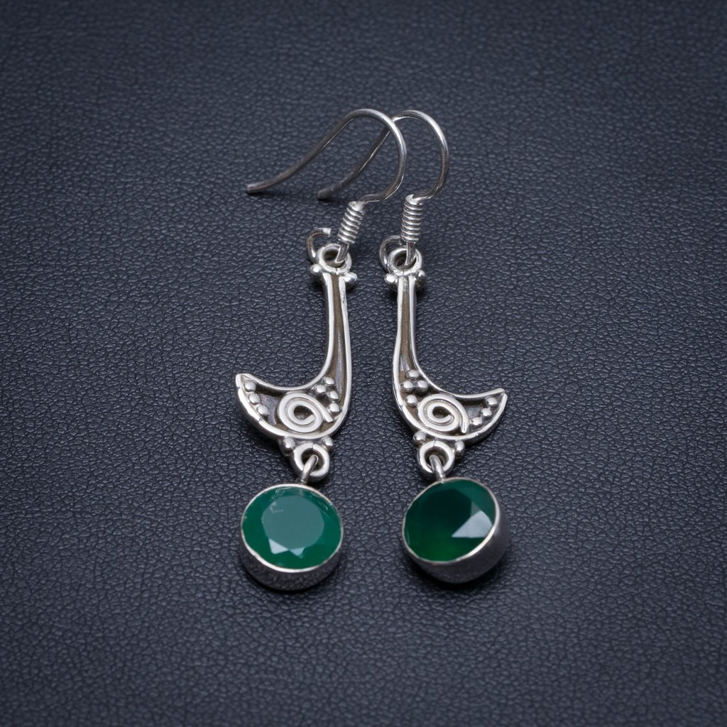 Natural Chrysoprase Handmade Indian 925 Sterling Silver Earrings 2 S1587Natural Chrysoprase Handmade Indian 925 Sterling Silver Earrings 2 S1587