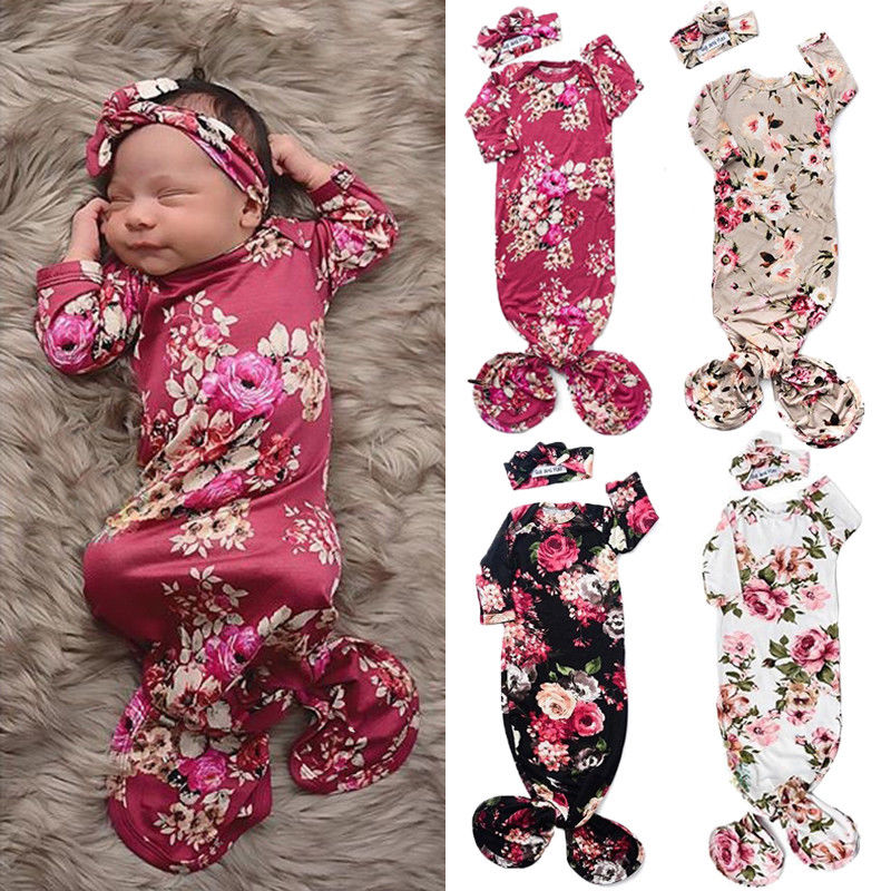 Newborn Baby Girl Outfit Sleeping Bags Floral Swaddle Wrap Sleeping Bag + Headband