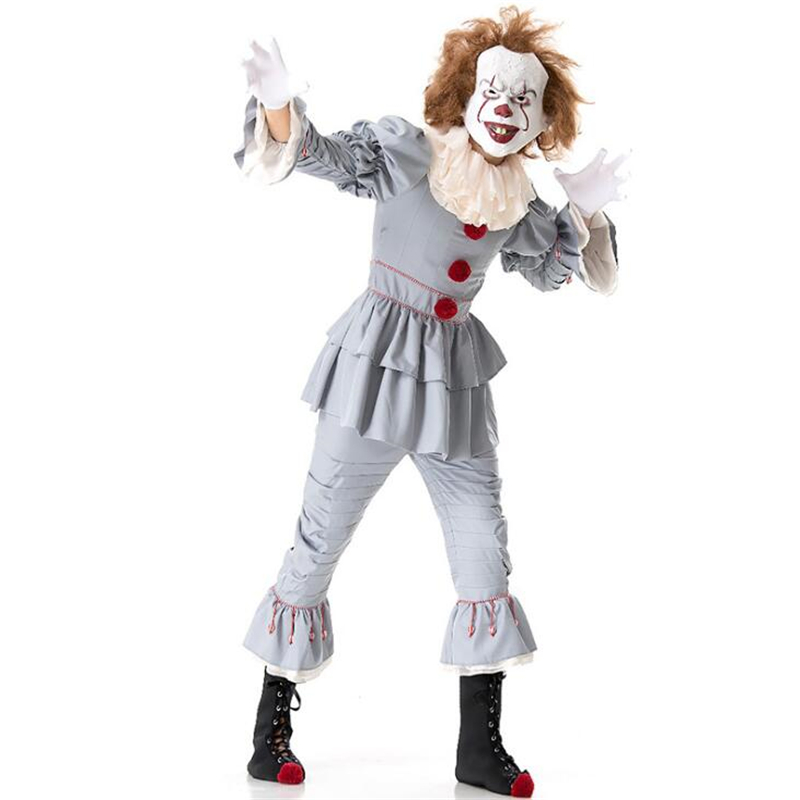 Deluxe Men Clown Costume Halloween Party Adult Cosplay Clothing