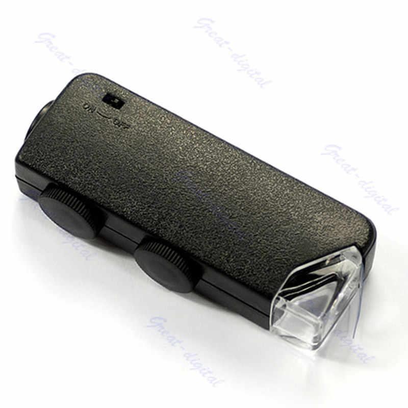 Мини ручной 60x-100x Карманный микроскоп Лупа с кожаным мешком