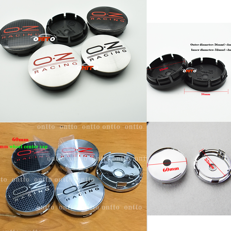 Image 1 - 4pcs oz racing 56mm 60mm O.Z OZ Sticker Wheel Center Hub Caps Wheel Dust proof emblem covers label for skoda audi v w toyota-in Wheel Center Caps from Automobiles & Motorcycles