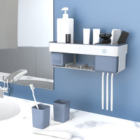 Home Automatic Toothbrush Holder UV Disinfection No Nails Bathroom Wall Mount Rack Bath Set Toothpaste Toothbrushes Storage