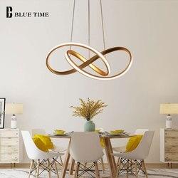 Oro y blanco moderno colgante LED luz para sala de estar dormitorio comedor lámpara colgante LED iluminación interior luminares
