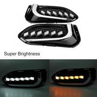 1 Pair Car Daytime Running Light Turn Signal 2 Color LED Fog Lamp for Honda Jazz fit 2018 2019