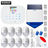 KERUI White intelligent Wireless GMS SMS call Home Burglar Intruder IOS/Android app Security Alarm System