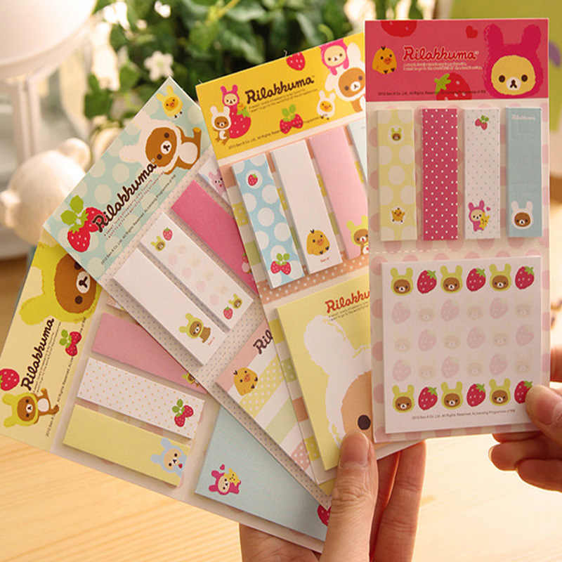 1 PCS New Lovely Cartoon Rilakkuma Memo Notepad Note Book Memo Pads Sticky Notes Memo Set Gift Stationery Office Supplies