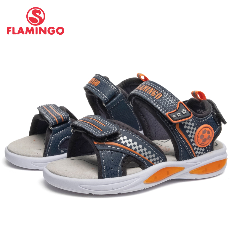 FLAMINGO Brand Arch Leather Insoles Hook& Loop Children Shoes Ankle-Warp Kids Sandal For Boy Size 25-31 Flat 91S-BK-1245