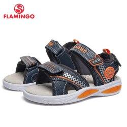 Marca FLAMINGO arco de cuero plantillas de gancho y bucle niños zapatos tobillo-Urdimbre niños sandalia para niño tamaño 25-31 plana 91S-BK-1245
