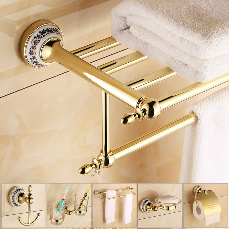 Antique Gold Porcelain Bathroom Hardware Set With Gold Head Decorate For Bathroom Accessories