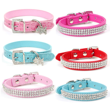 Small Dog Collar Bling Rhinestone PU Leather Puppy Collars Necklace Neck Strap Adjustable Safe Pet Products Leash