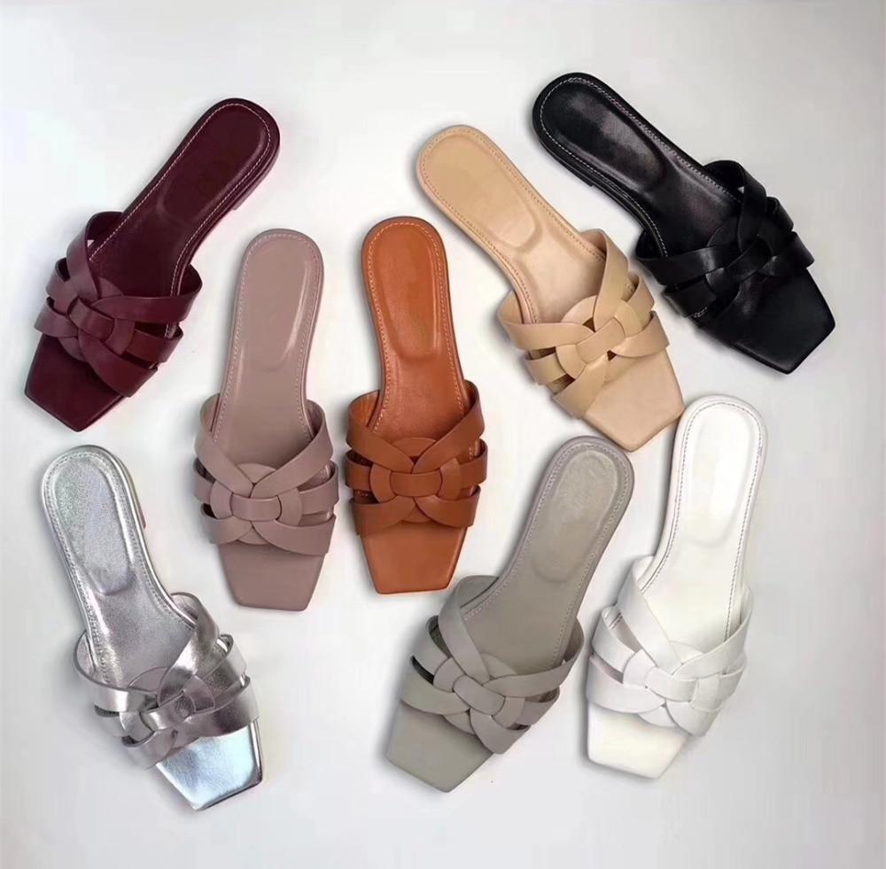 Chic negro Zapatillas By513 rosado Vaca Tamaño brown Moda La Las gris blanco Verano Mujeres Zapatos plata borgoña Real Planos De Cuero Eu35 41 Beige q0ScTRP