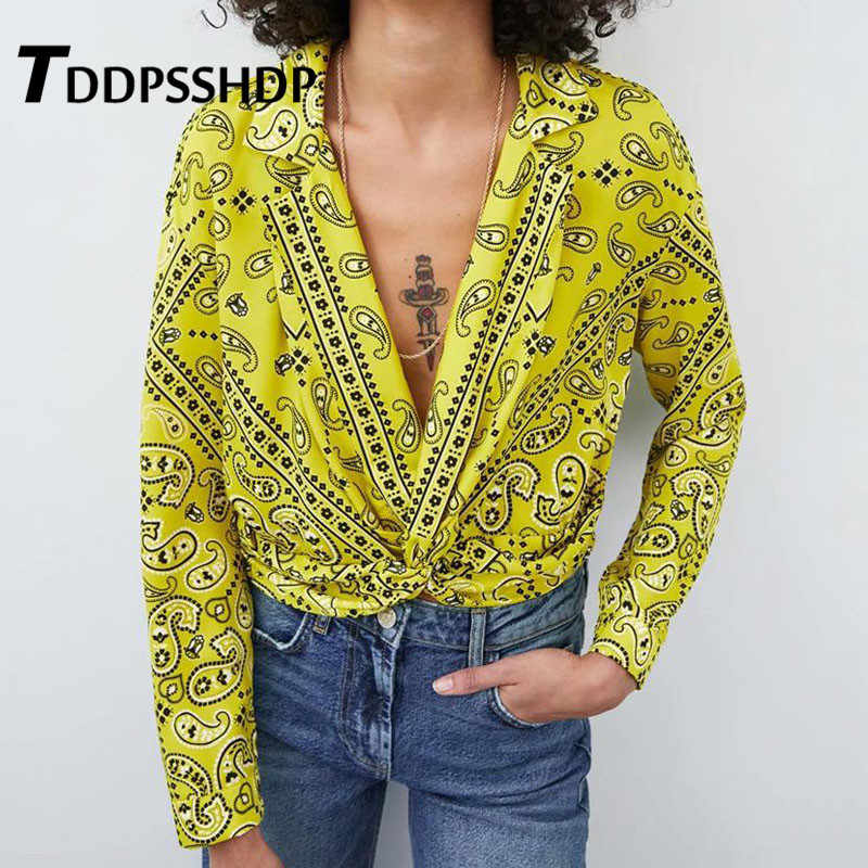 Geometric Printing Yellow Color Women Blouse 2019 New Long Sleeve Spring Lapel Female Blouses