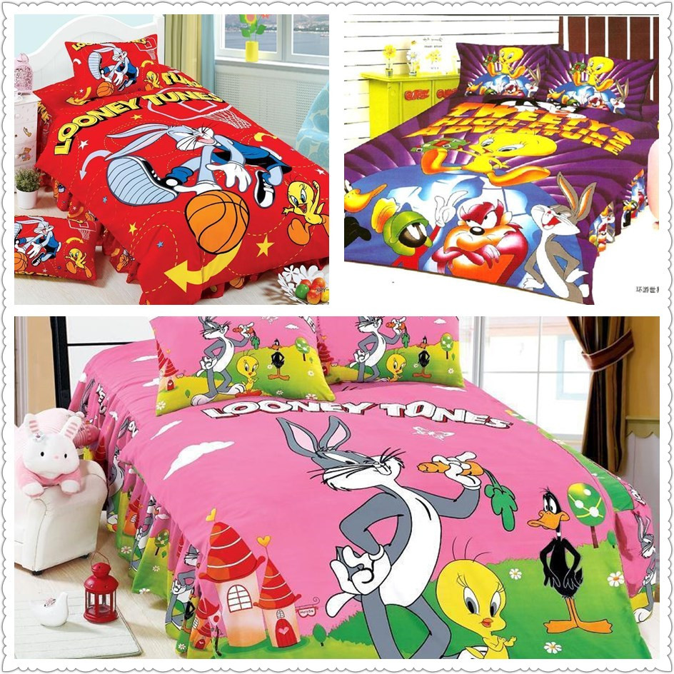 popular bright colored quiltbuy cheap bright colored quilt lots  - amazing bright color looney tunes print bedding sets childrens home decordouble twin size home textile