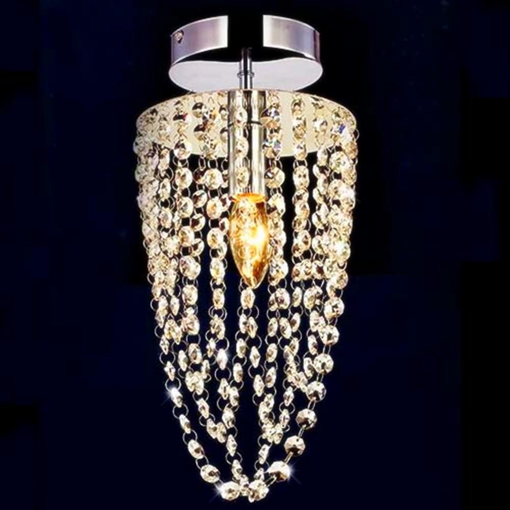 ФОТО LED light Chrome K9 Modern crystal chandelier lighting D17*H45cm AC110V-256V Transparent color celling lamp warm white