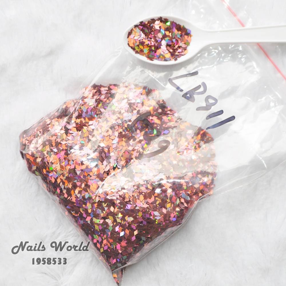 50g Laser Pink Holographic Colors Rhombus Shape Sequins Glitter Powder For Nail Decoration DIY Accessories LB911-50g hr25 148 mix 2 5 mm pastel matt pearlescent colors heart shape glitter for nail art and diy supplies1pack 50g