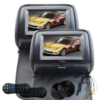 7 Car Headrest Pillow DVD Video System Support No IR Headphones Black LCD 800480 Digital Screen