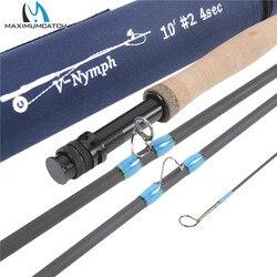 Máxima captura 10FT-11FT 2/3/4WT 4seg caña de pesca con mosca Nymph IM10 fibra de carbono de grafito de acción rápida con línea de Nymph