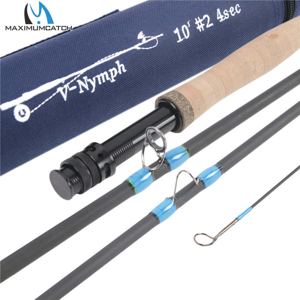 Maksimalcatch 10FT-11FT 2/3 / 4WT 4Sec Nymf Fly Fishing Rod IM10 Graphite Carbon Fiber Hurtig Handling Flystang med Nymph Line