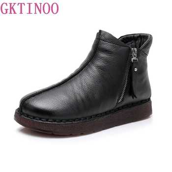 GKTINOO 2018 Women Boots With Fur Winter Warm Real Leather Handmade Boots Flat Shoes Genuine Leather Boots for Women - SALE ITEM Shoes
