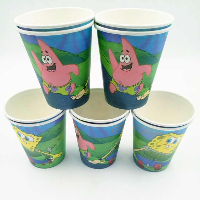 bef809d8629cd 10pcs SpongeBob Cup Cartoon Theme Party For Children Girls Boys Happy Birthday  Decoration Theme Party Supplies