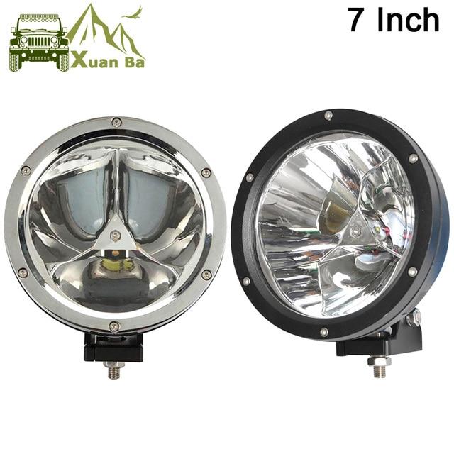 """XuanBa foco de luz Led redondo, 2 uds., 7 """", 45W, haz de luz 12V, 4x4, faro antiniebla para barco, camión, SUV, ATV"""