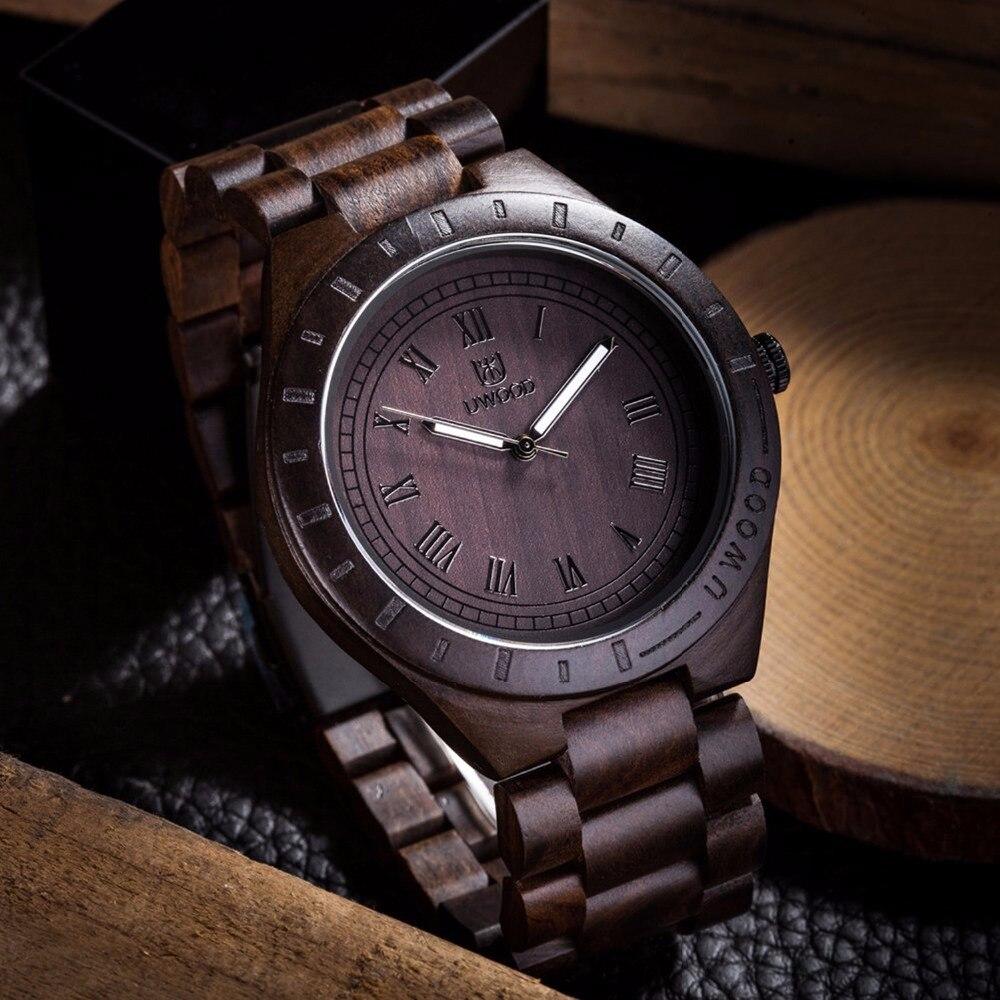 Топ Брендовая Дизайнерская обувь Винтаж черного дерева случае Для мужчин часы с Ebony древесины бамбука Уход за кожей лица с зеброй древесины