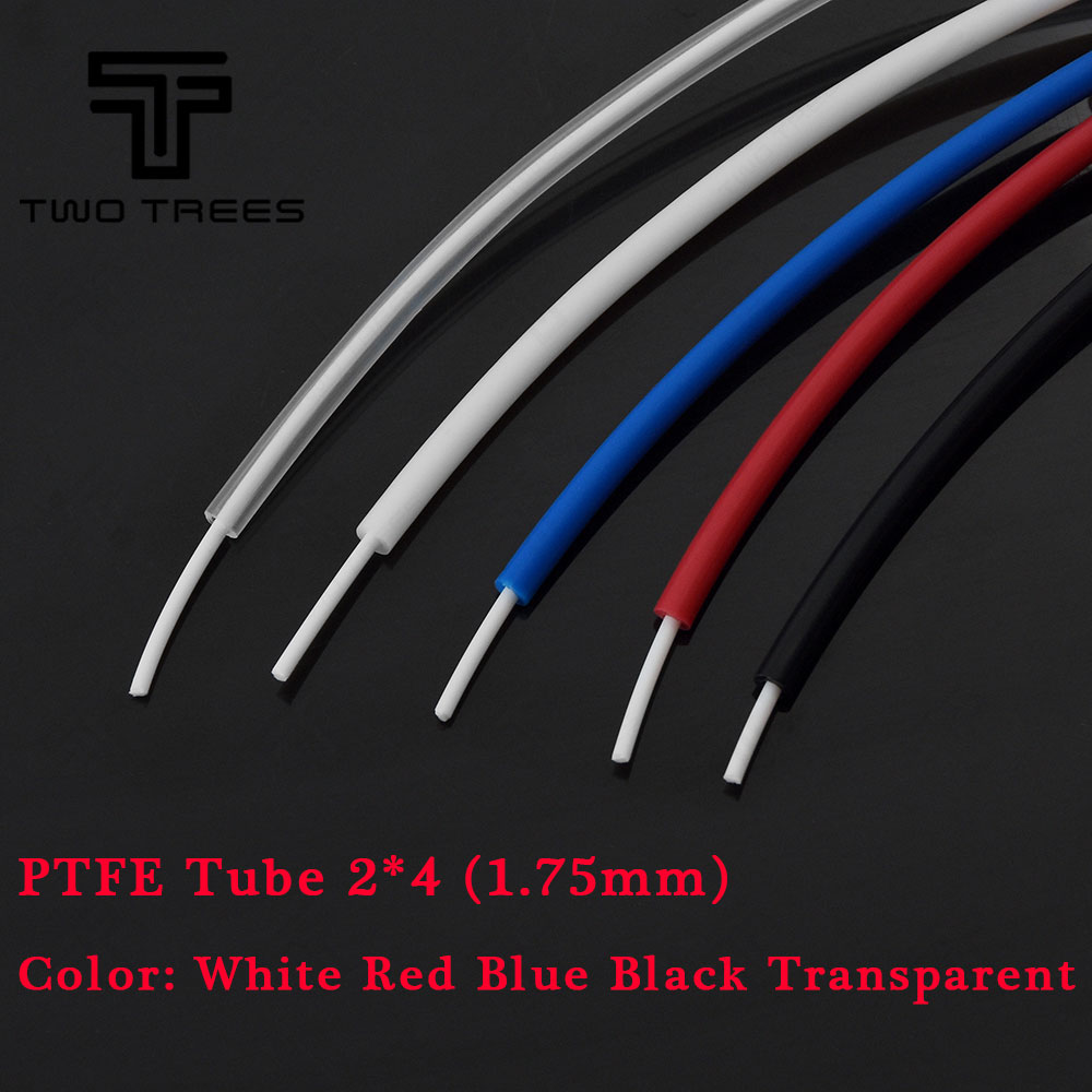 3D Printer PTFE Tube for 1.75mm Filament Extruders 2mm ID 4mm OD Teflon Tubing