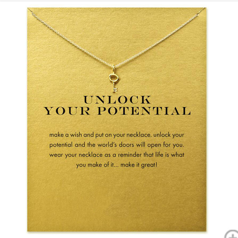 Fashion Gold Color Key Pendant Necklace Women Minimalist Clavicle Chain Choker Necklaces Unlock Your Potential Gift Card in Pendant Necklaces from Jewelry Accessories