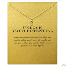 Fashion Gold Color Key Pendant Necklace Women Minimalist Clavicle Chain Choker Necklaces Unlock Your Potential Gift Card