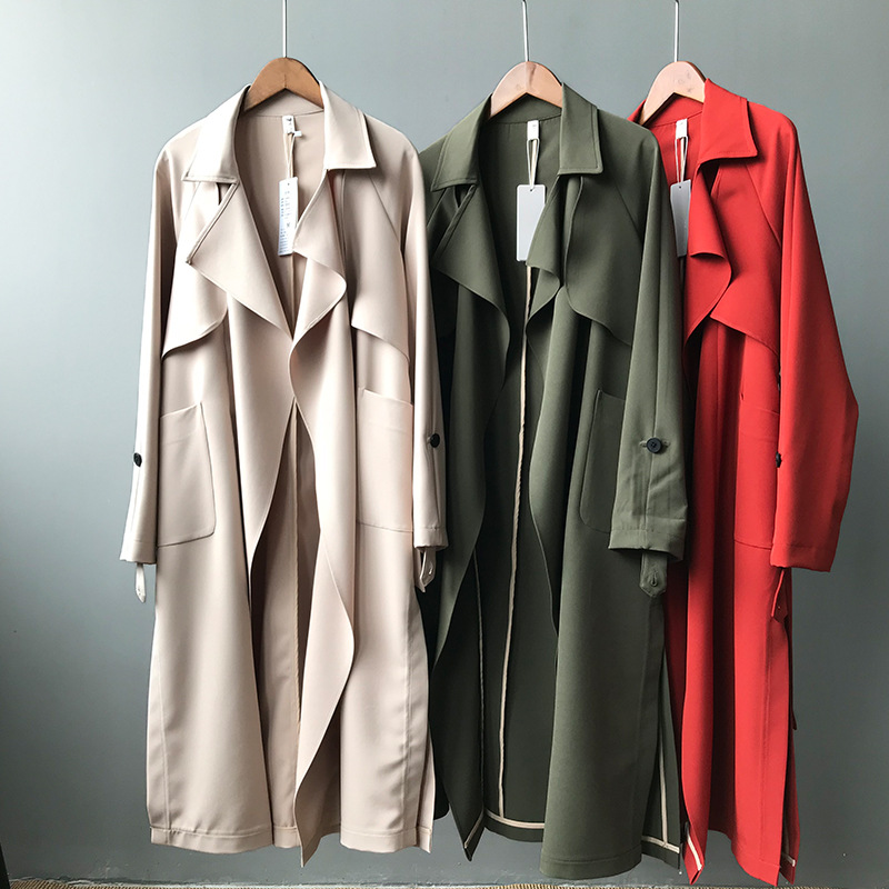 European and American High street-wear lapel Collar Spring   trench   overcoats Military Style Women's long coats