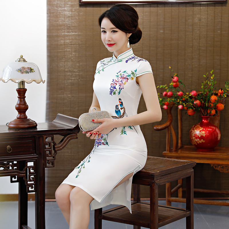 Rayon Women Cheongsam Classic Dress Printed White Vestidos Slim Mandarin M Chinese Collar 3xl New Oversized 2019 Qipao Elegant qYSq4C