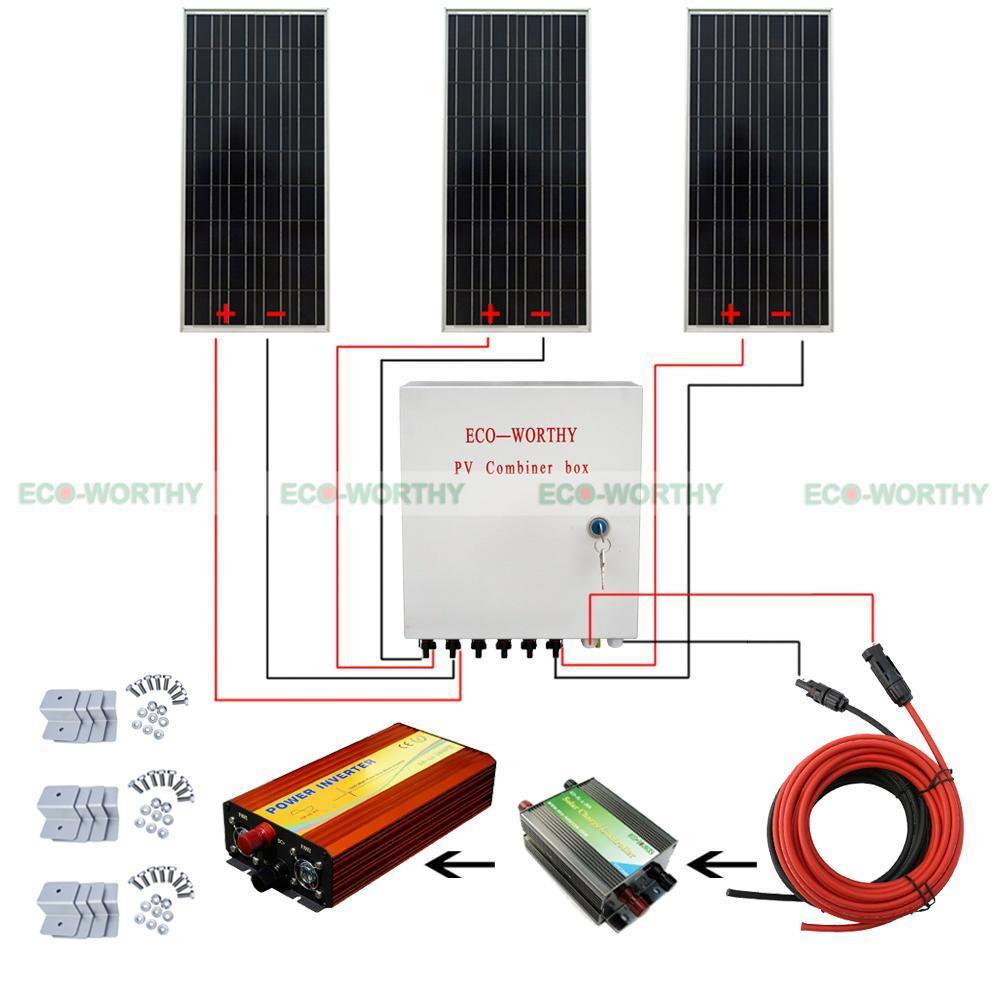 100W 12V Solar Panel 6 String Combiner Box 10A Breaker 1KW Power Inverter Solar Generators