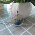 NEW Women round necklace Transparent resin dried flower necklace Blue flowers Alloy chain