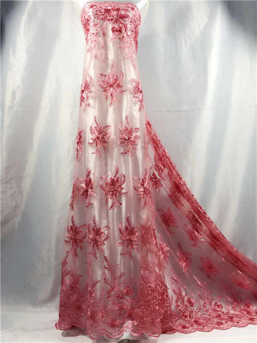 4850ed3b957ae pink black African beads Lace Fabric, 3D Applique Lace For Wedding, Bridal  Dress Tulle Lace Fabric Golden lake blue green red